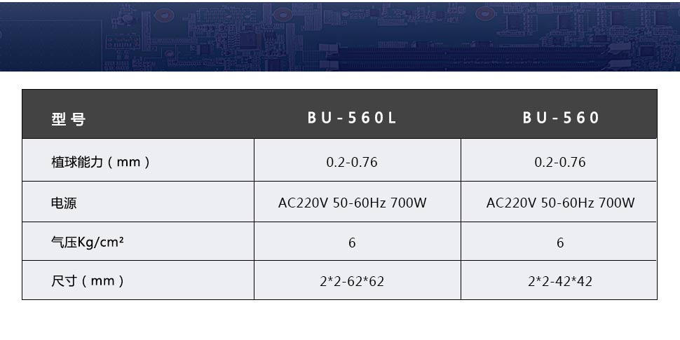 BGA植球机产品参数